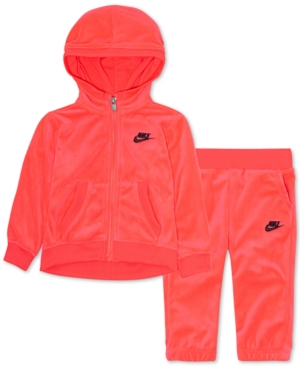 89e49e98e58 Nike Toddler Girls 2-Pc. Velour Hoodie   Pants Set - Pink 2T ...