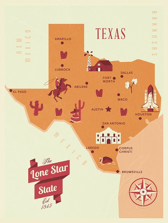 Texas Map, The Lone Star state map, original texas map, nursery map ...