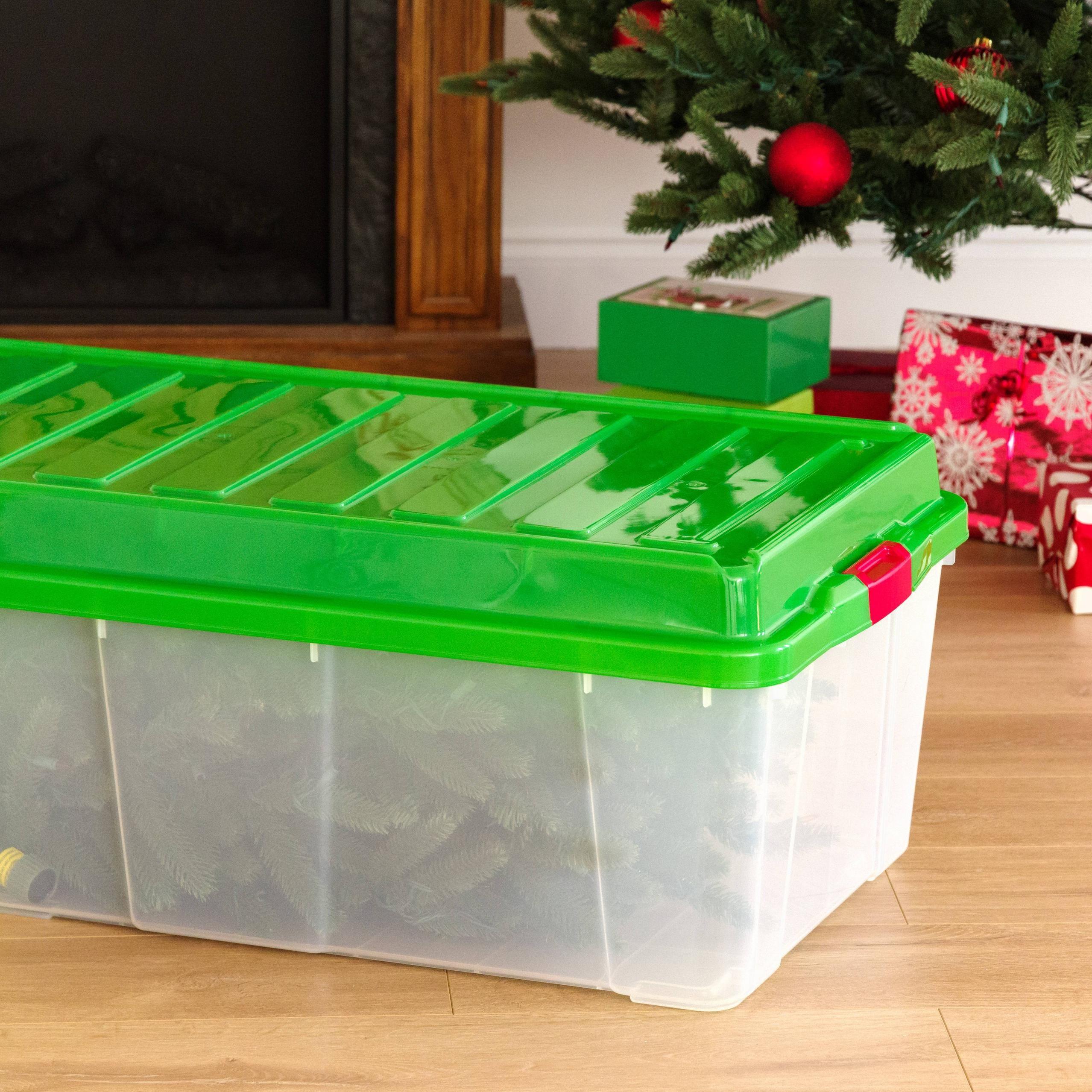 Iris Tree Storage Tote Green Lid Walmart Com In 2020 Tote Storage Christmas Tree Storage Plastic Christmas Tree