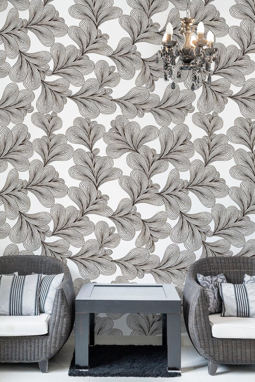 Black White Wallpaper With Leaf Pattern Peel And Stick Wall Etsy Black And White Wallpaper White Wallpaper Leaf Pattern