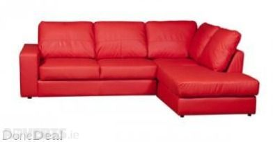 L Shape Corner Sofa Leather At Half Price In Black Brown Red And Cream