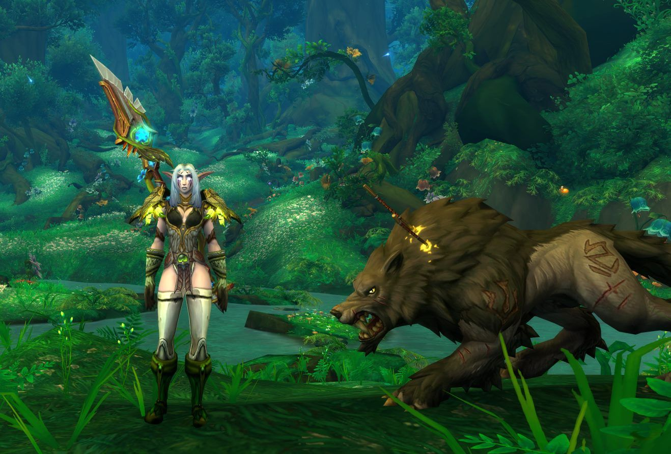 Brattybrat The Survival Hunter From Moon Guard In Her New Transmog For Her Mage Tower Challenge With Her Pet Fenrir