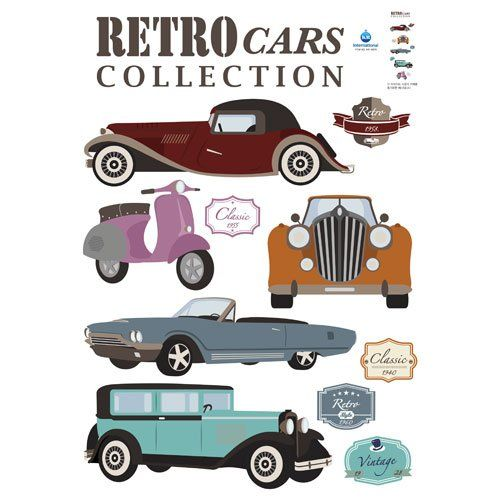 Old Fashioned Retro Vintage Cars Includes Rolls Royce Lincoln Vespa Removable Home Decoration Wall Sticker Decal See Th Retro Cars Wall Stickers Retro