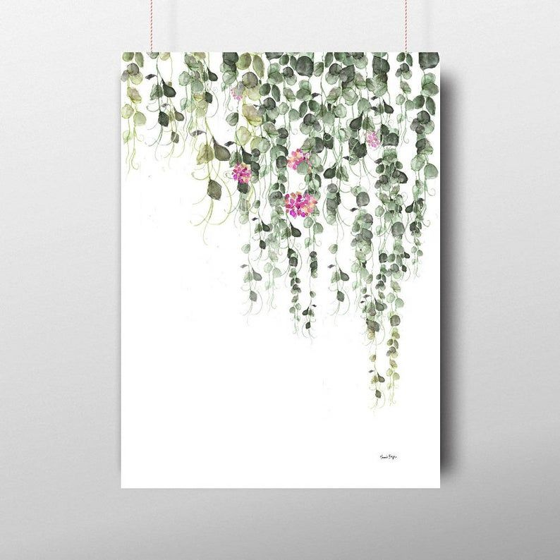 Set Of 3 Prints Watercolor Hanging Plant,Pearl Pla