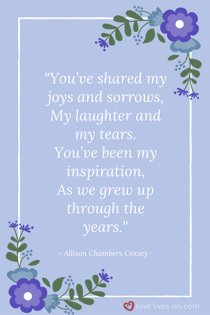 21 best funeral poems for sister sister pinterest funeral a touching funeral quote for sister from the beautiful poem to my sister by allison chambers coxsey izmirmasajfo