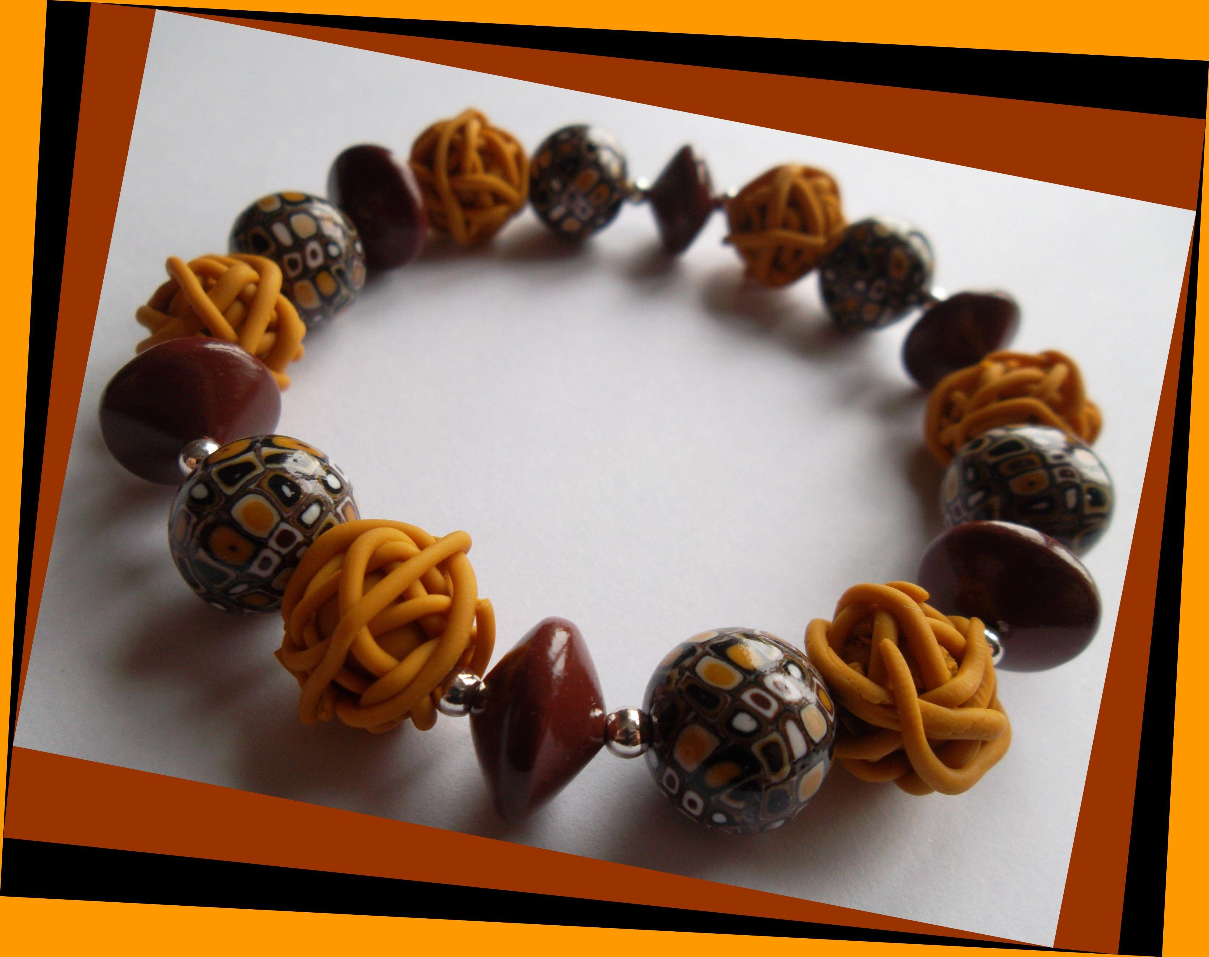 bracelet fil lastique couleur safran bijoux en argile polym re pinterest bijoux en argile. Black Bedroom Furniture Sets. Home Design Ideas