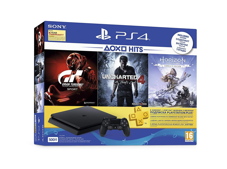 Buy Sony Ps4 500 Gb Slim Console Free Games Gran Turismo Sport Uncharted 4 Horizon Zero Dawn Online At Low Sony Video Games Free Games Video Game Reviews