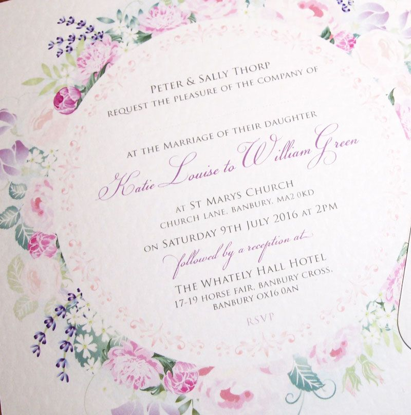 Rose Wedding Invitation Elegant Fl Wreath Of Pink Roses Peony Lavender And