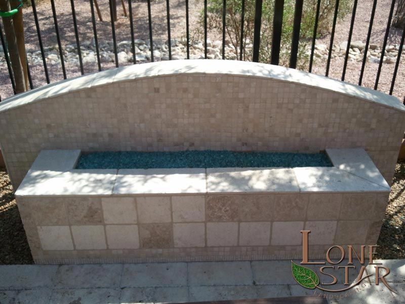 Fire pit rectangular travertine fire pit with small for Rectangular stone fire pit