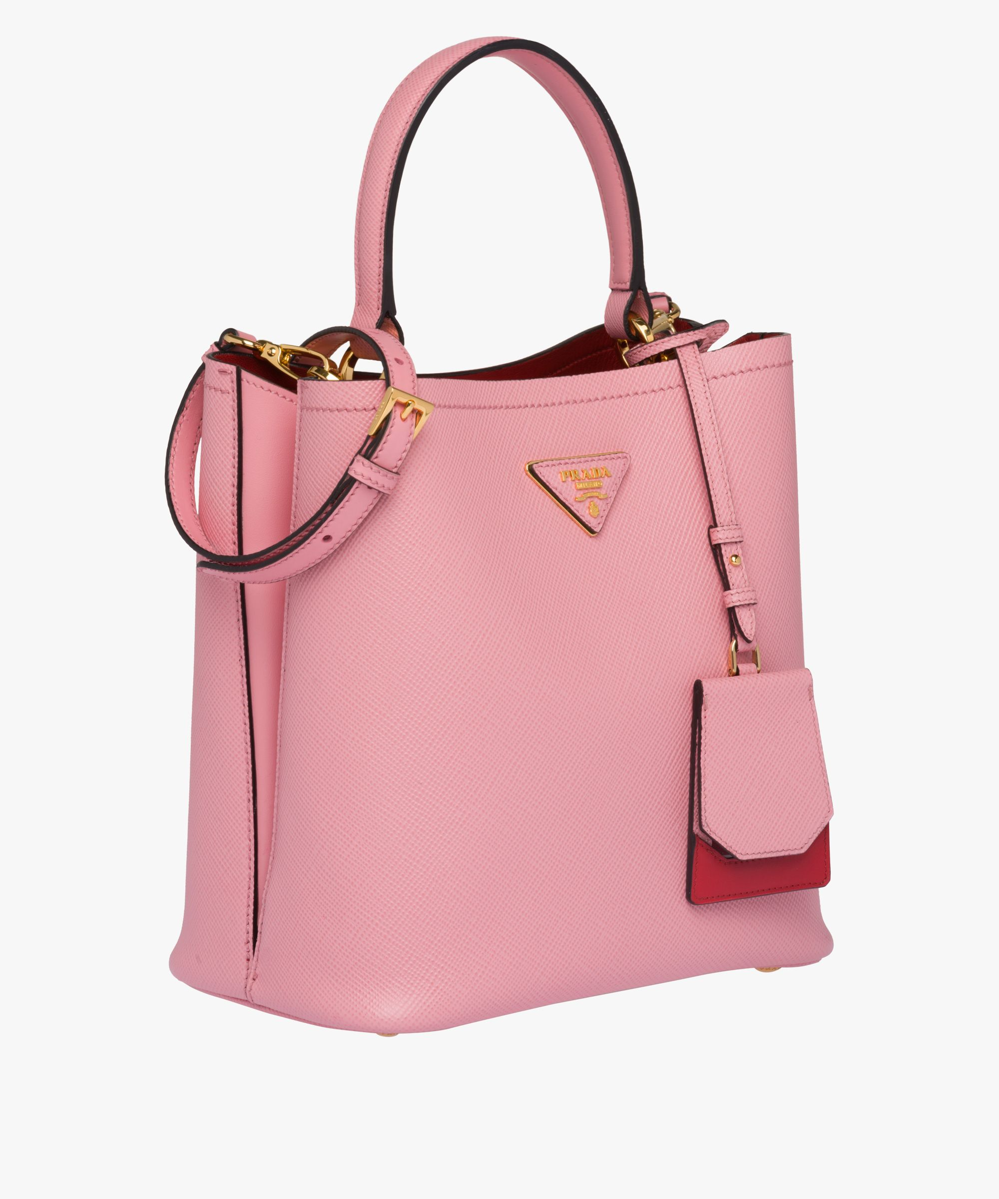 c5f7283c74bf Prada - Double Medium petal pink/ fiery red bag | BAGS in 2019 ...