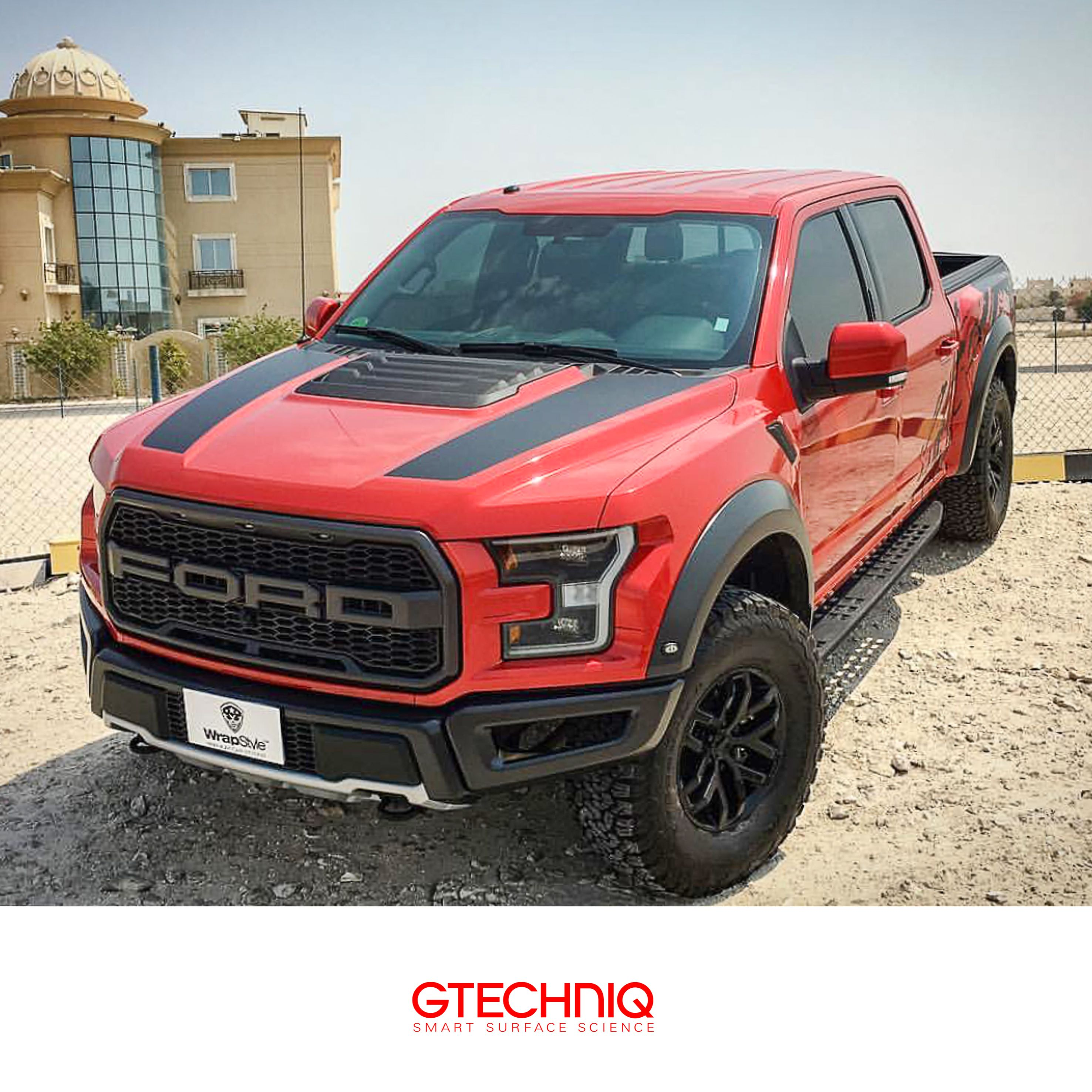Ford F 150 Raptor Wrapped In Red Dragon Fire And Then Protected By Gtechniq And Our Accredited Detailers Gtechniqqata Ford Trucks Ford Truck Ford Models