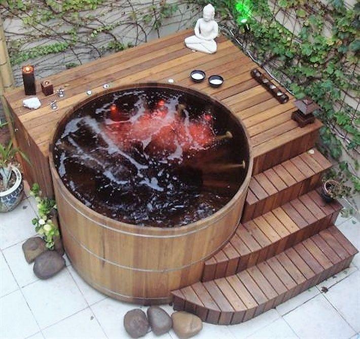 patio hot tub Garden Pinterest Albercas, Jardín y Casa jardin - jacuzzi exterior