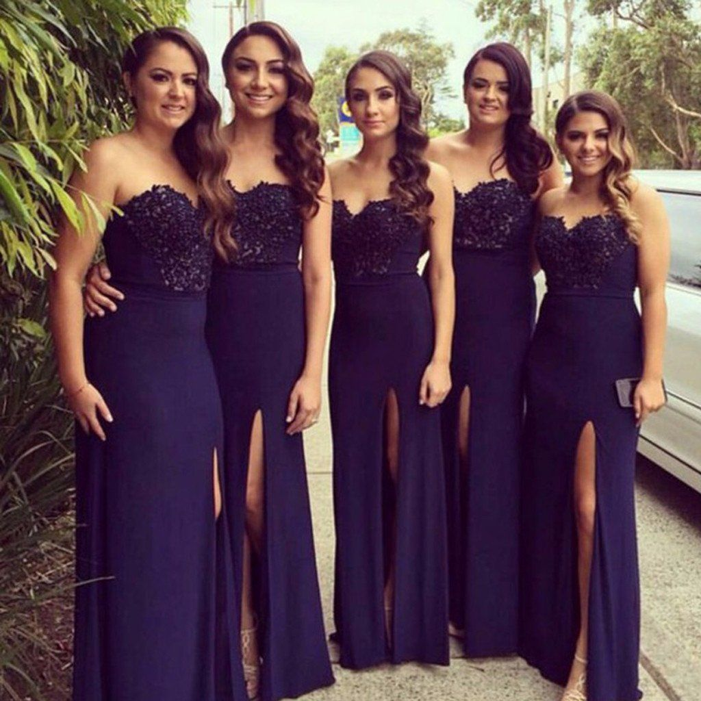 Sweetheart navy blue side slit lace jersey bridesmaid dresses