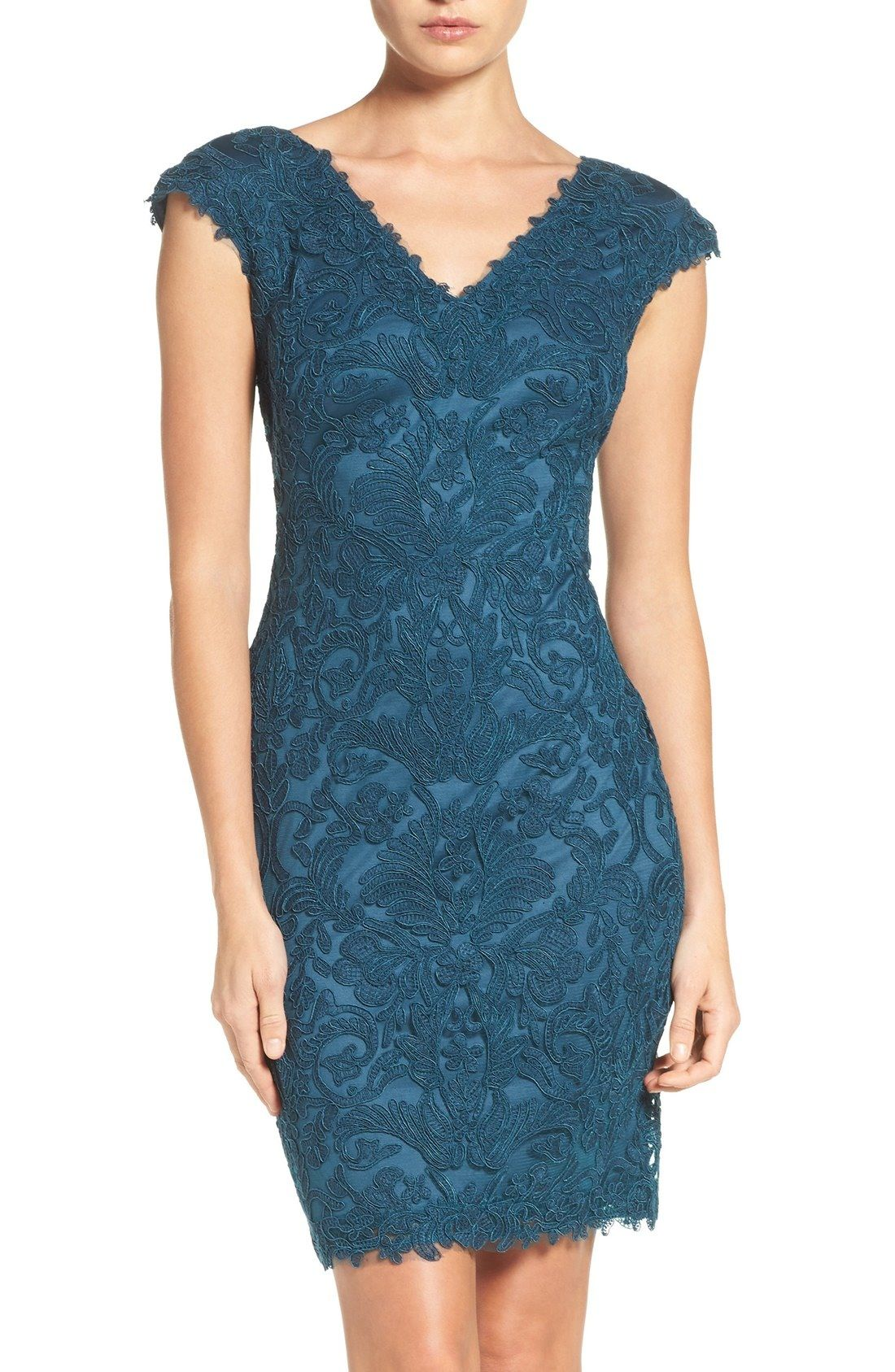 Tadashi Shoji Corded Lace Tulle Sheath Dress (Regular | Wedding ...