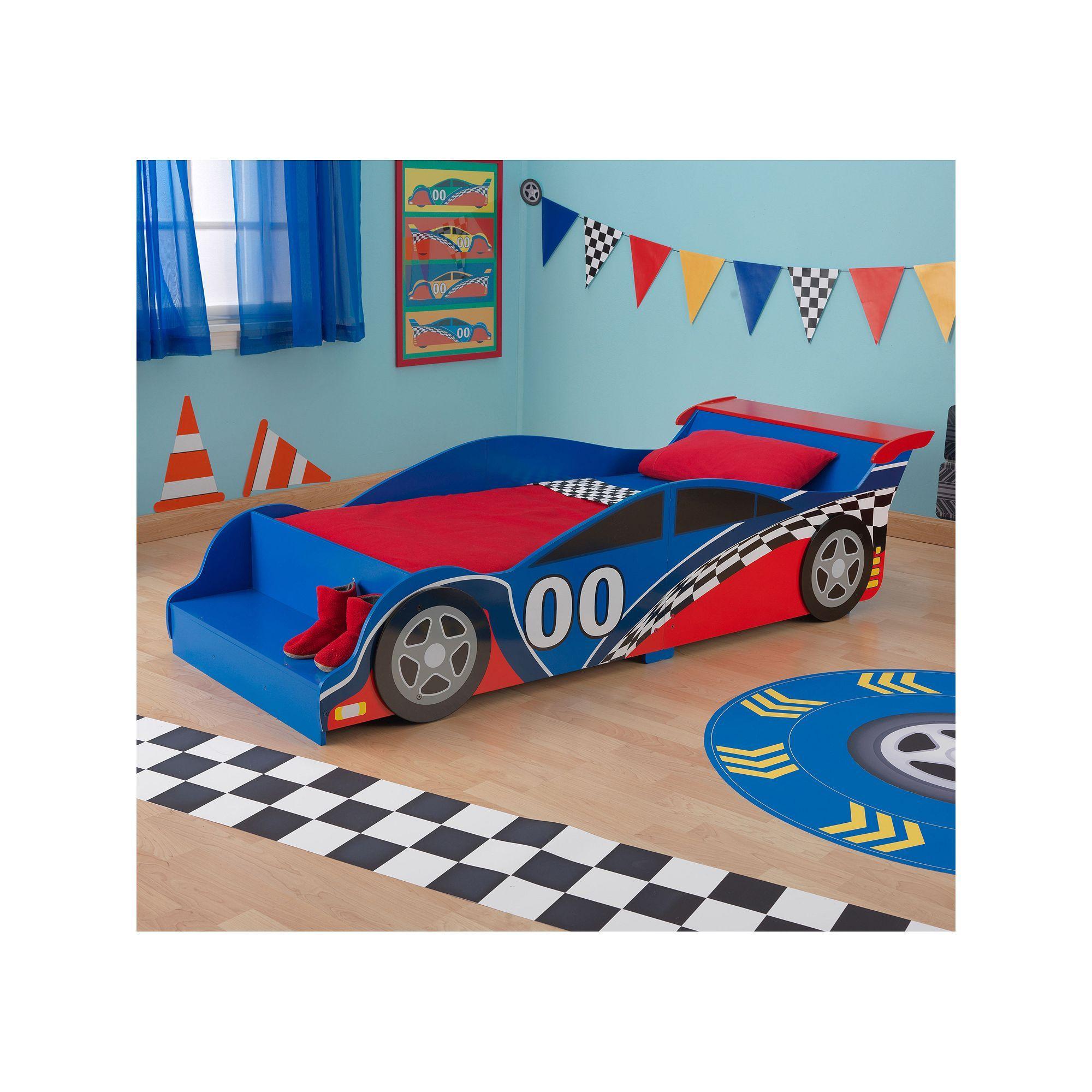 KidKraft Toddler Racecar Bed, Multicolor Race car