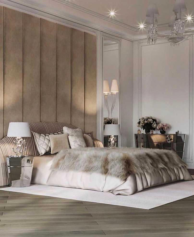 Luxury Beige Bedroom Decor With Plisse By Koket Ruched
