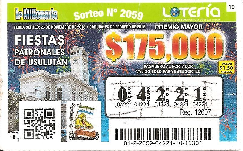 Billete de lotería: La Millonaria (lotería Nacional de Beneficencia de El Salvador, El Salvador) (La Millonaria) Col:SL-0018