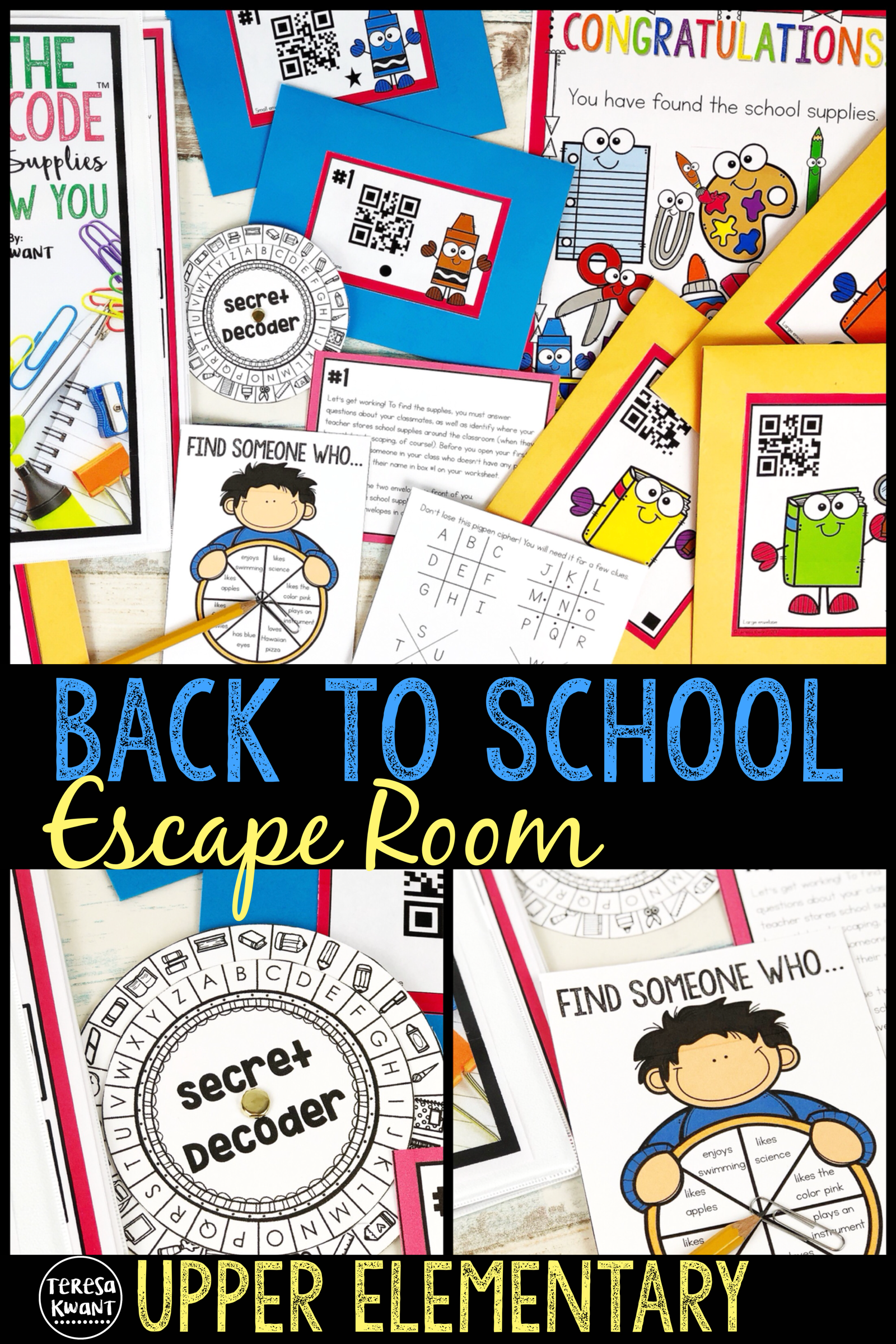 Back To School Escape Room Cracking The Classroom Code Upper Elementary