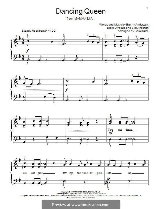 Dancing Queen For Piano Violin Music Trumpet Sheet Music Piano