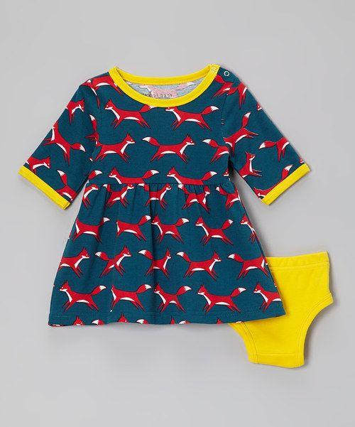 Blue Fox Dress & Yellow Organic Diaper Cover