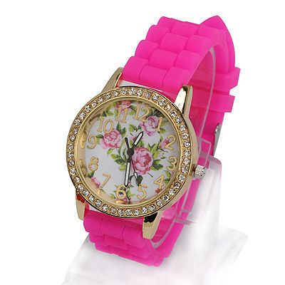 Beauteous plum red diamond decorated rose pattern design alloy Ladies Watches, in stock $2.63.