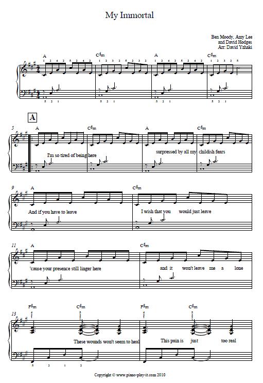 My immortal evanescense piano tutorial.