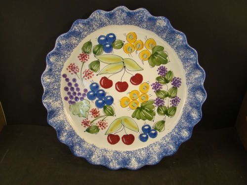 10\  Pie Plate Handcrafted Hungary Mesa International Ceramic Fruits Berries   eBay & 10\