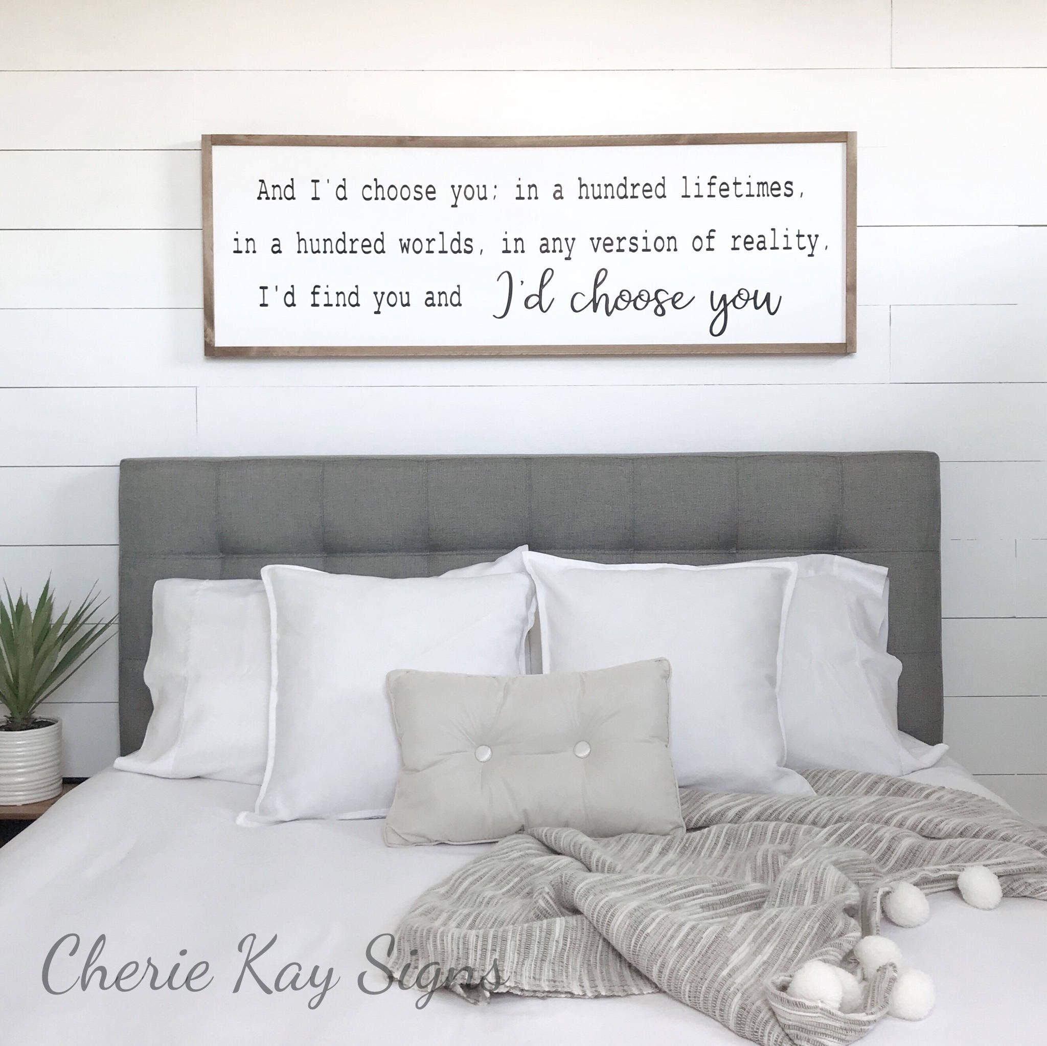 Bedroom Decor I D Choose You Wood Sign Farmhouse Bedroom