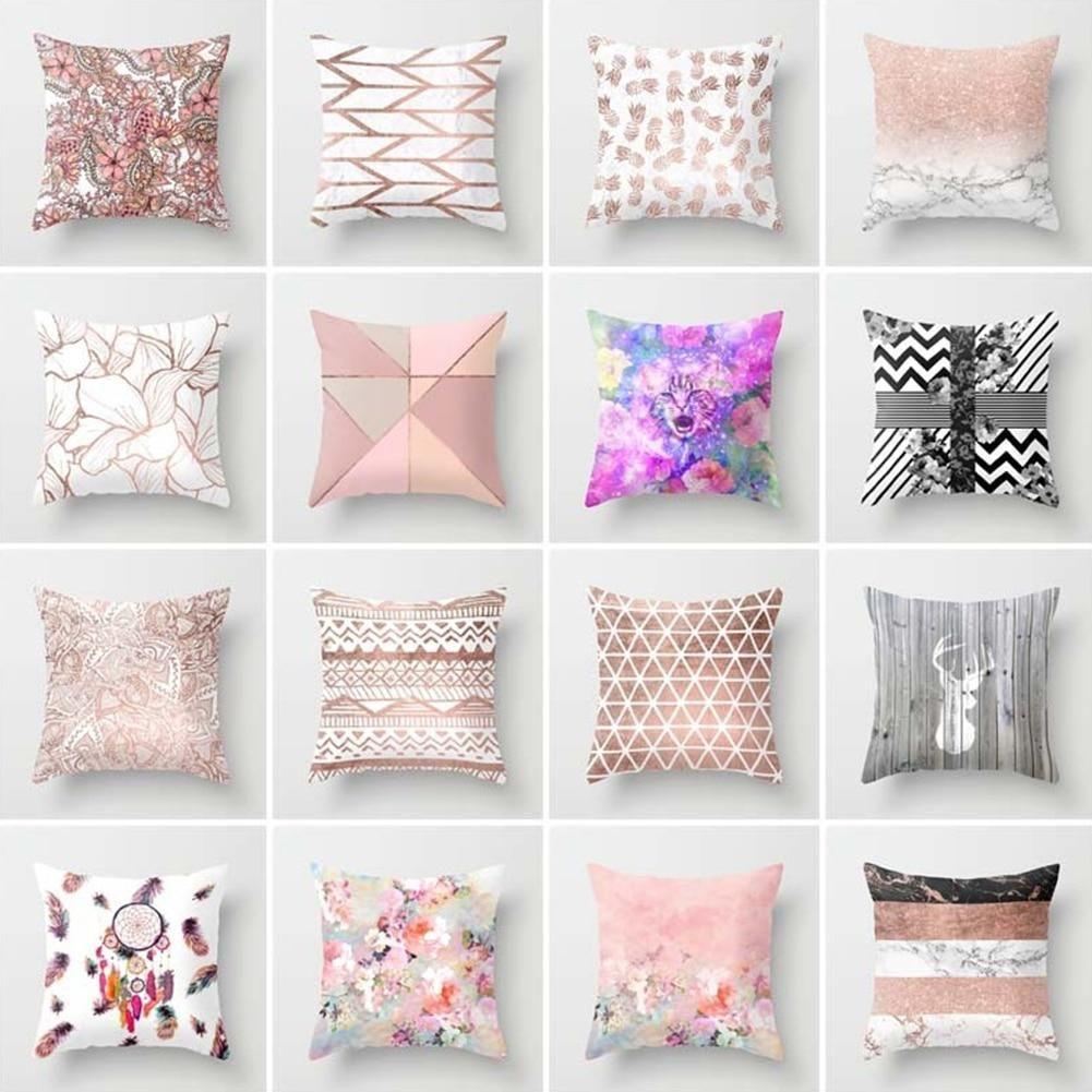 Polyester pillow case cover Rose Gold throw sofa car cushion cover Home Decor AA