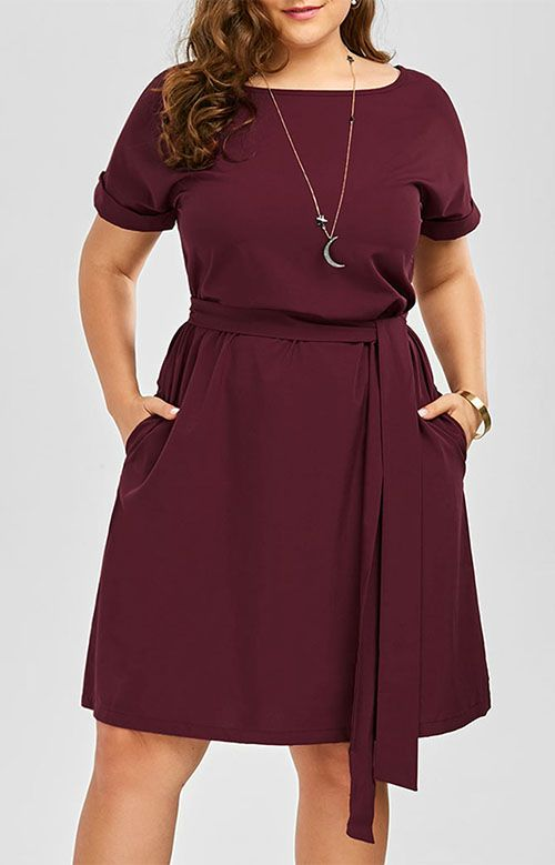 Plus Size Belted Knee Length Dress With Pockets Pinterest