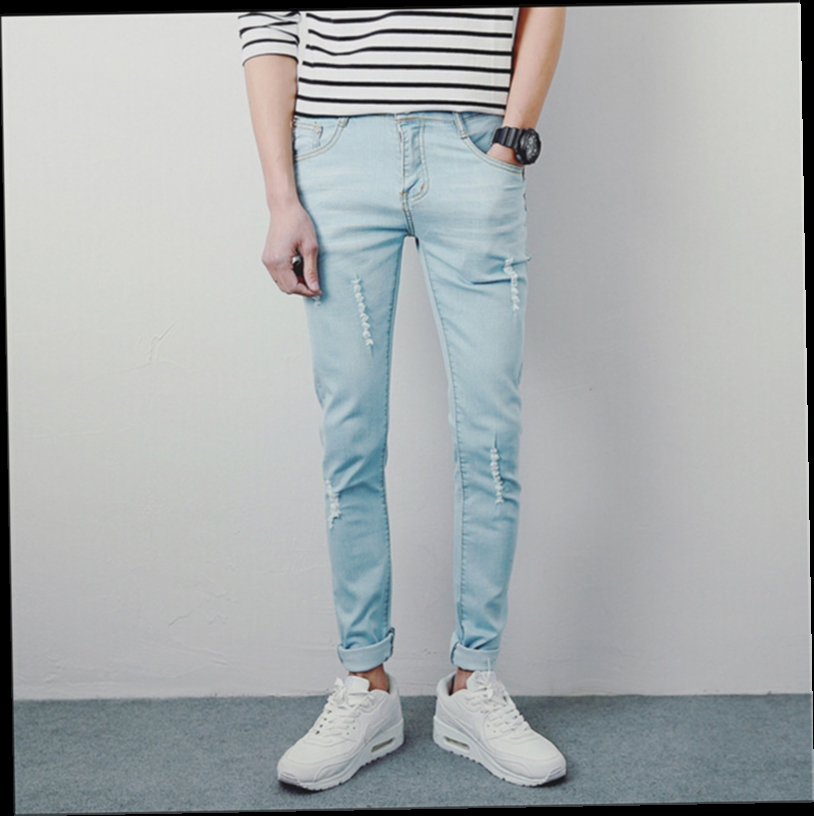 42.49$  Buy here - http://alijpy.worldwells.pw/go.php?t=32602587515 - Hot Fashion Hole Men Jeans Pants Slim Skinny Youths Mens Jeans 28-33 42.49$