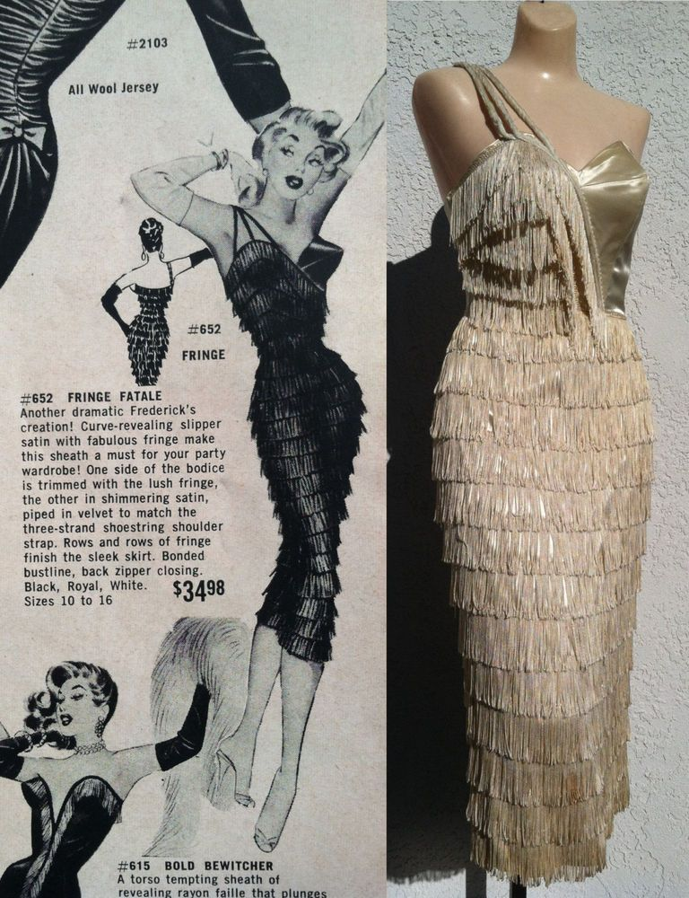 Vtg 50s Fredericks Of Hollywood Fringe Strapless Shelf ...