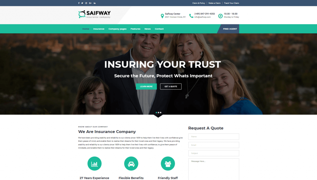 Pin On Best Insurance Agency Wordpress Theme
