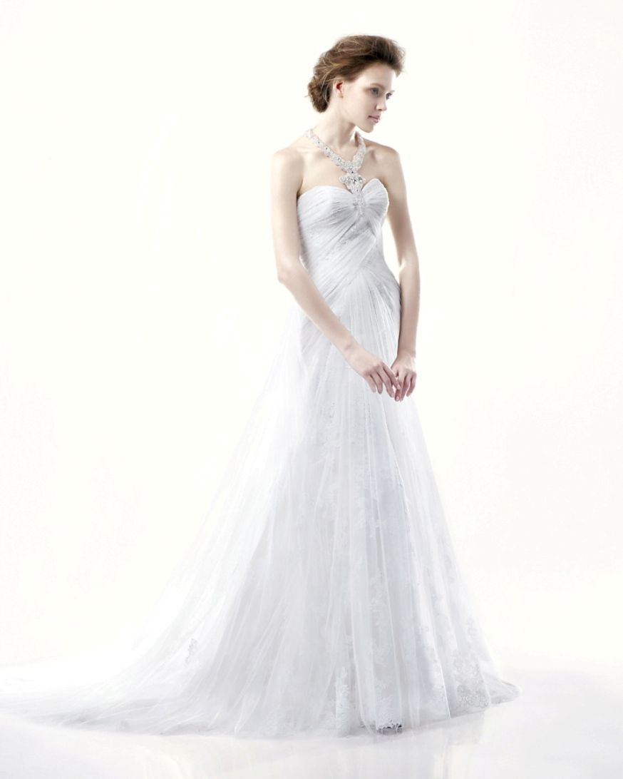 Sheath Jewelled Halter Strap Sweetheart Ruched Bodice Wedding Dress-WS0044, $238.98