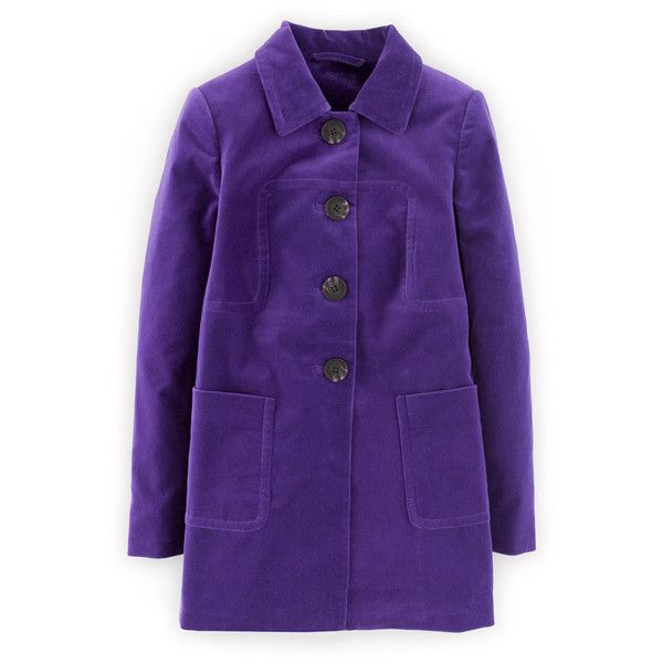 Boden Catharine Coat ($79) ❤ liked on Polyvore featuring outerwear, coats, royal purple, boden, velvet coat, purple velvet coat, purple coat and velvet evening coat