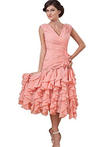 Albizia Vneck Tea length Chiffon Mother Of The Bride Dress 18 >>> To view further for this item, visit the image link.
