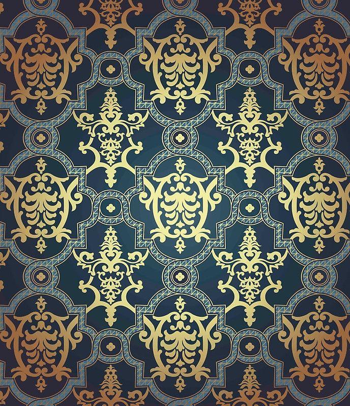 Vintage Royal Gold Navy Blue Damask Floral Pattern Wall Paper Elegant Chic Formal Beautiful Mini Skirt By Love999 Seamless Patterns Blue Damask Print Design Pattern Elegant navy blue wallpaper for walls