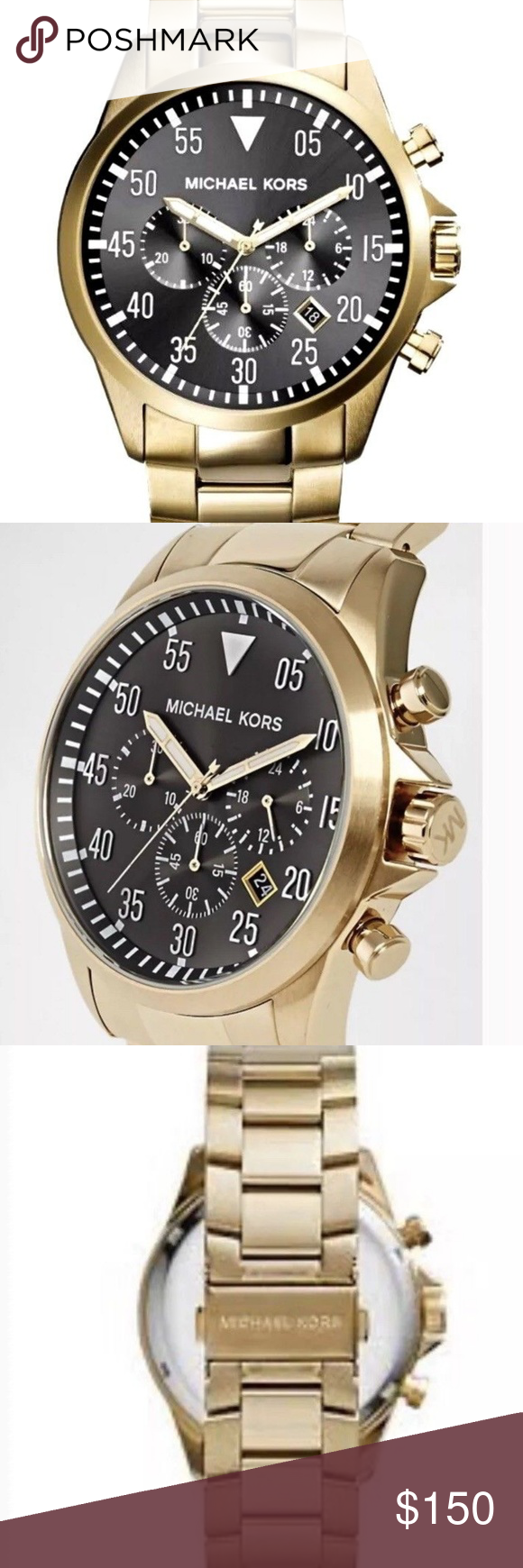 584f60d03a8f Michael Kors MK8361 Gage Chronograph Men s Watch Authentic Michael Kors  MK8361 Gage Chronograph Men s Watch Black Dial Gold Tone NWT  275 Michael  Kors ...