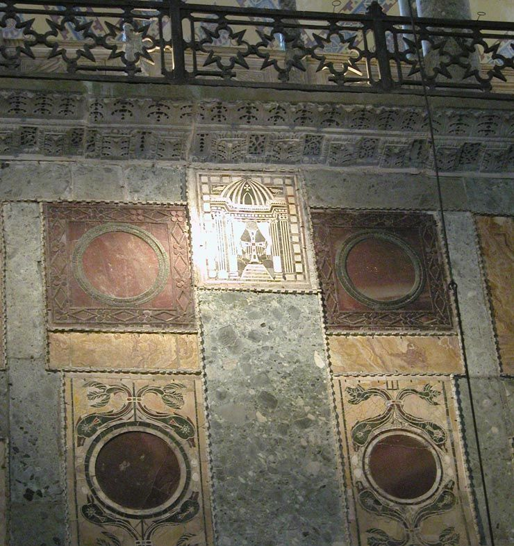 Here You Can See The West Wall Above The Royal Door In Hagia Sophia There Is An Opus Sectile Of A Cross And Matched Pai Hagia Sophia Byzantine Art Royal Doors