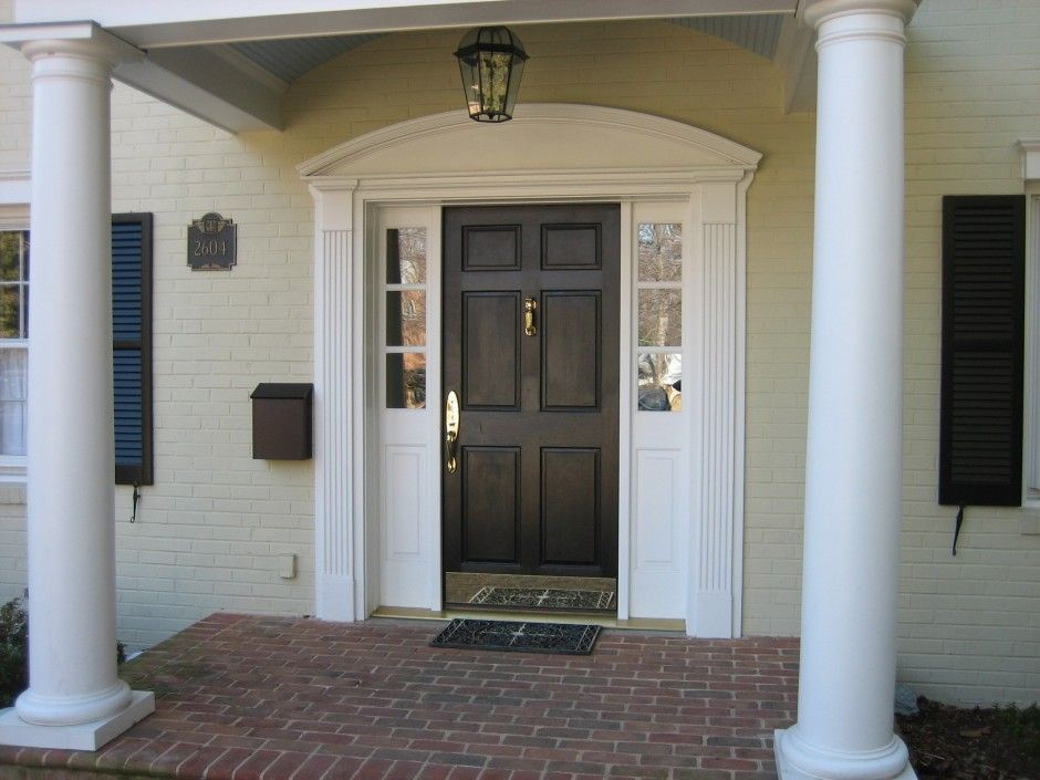Decoration Ideas Awesome Curved Pediment Head Over Front Door Trim With Sweet Pilaster Necking For Black Wooden 6 Panels Entry Doors In Small Porch