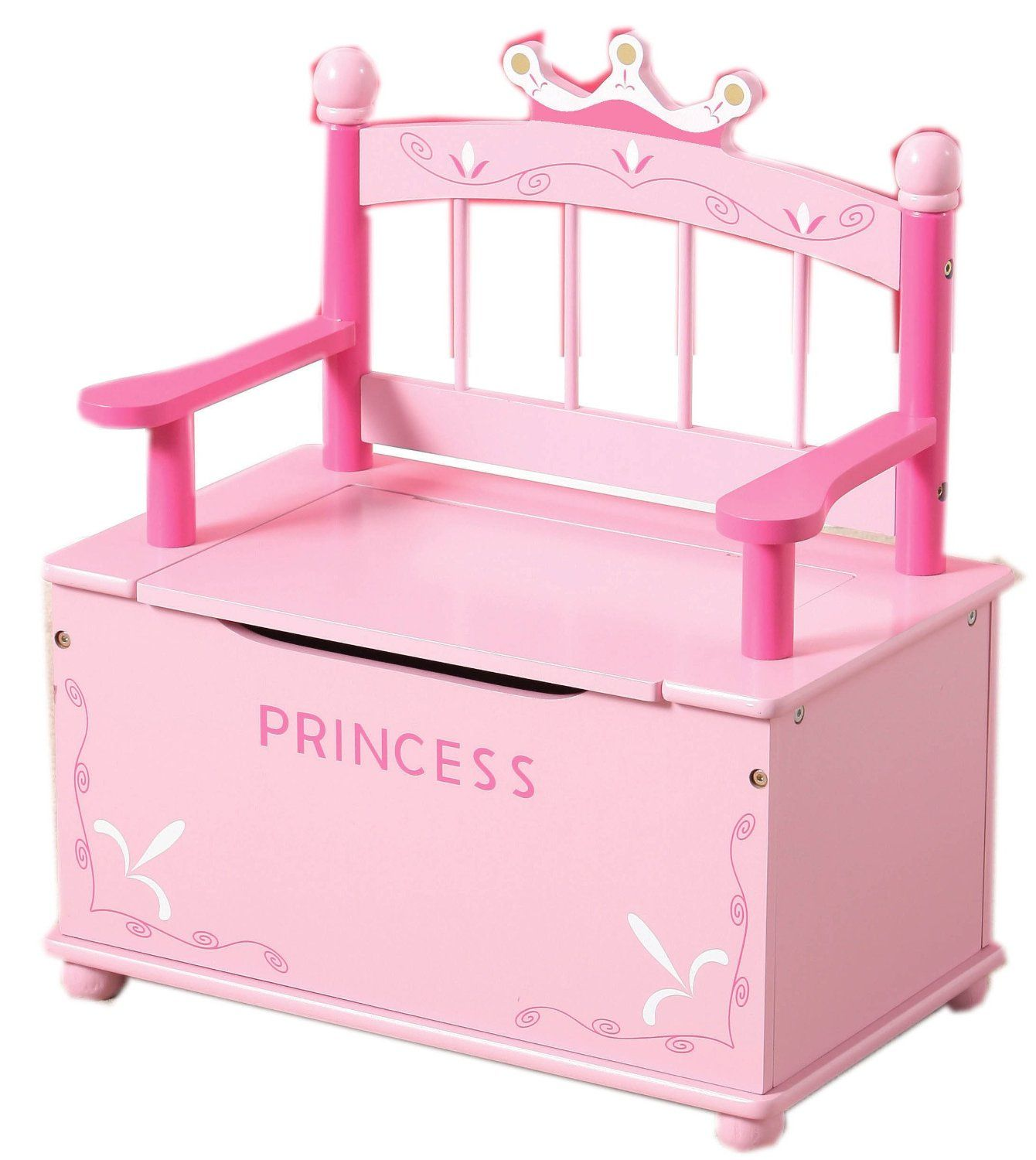 Amazon Co Uk Pink Princess Wooden Bench And Toy Chest Storage For Girls Toy Box Wooden Bench Storage Chest