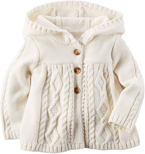 Carters Baby Girl Hooded Chunky Cable-knit Cardigan (3 Months ...