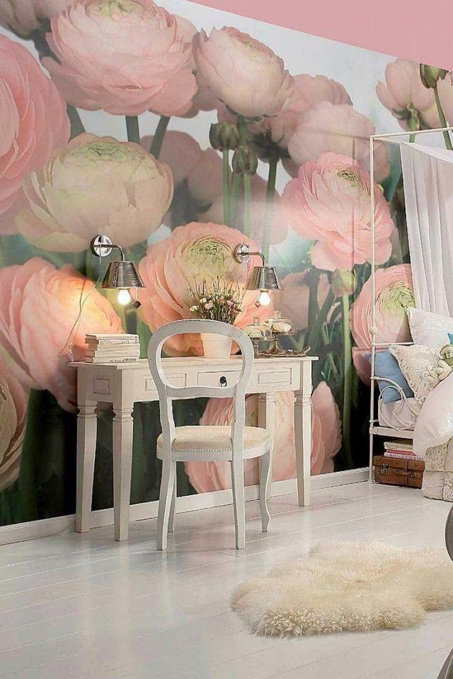 idée de déco murale en papier peint photo à fleurs