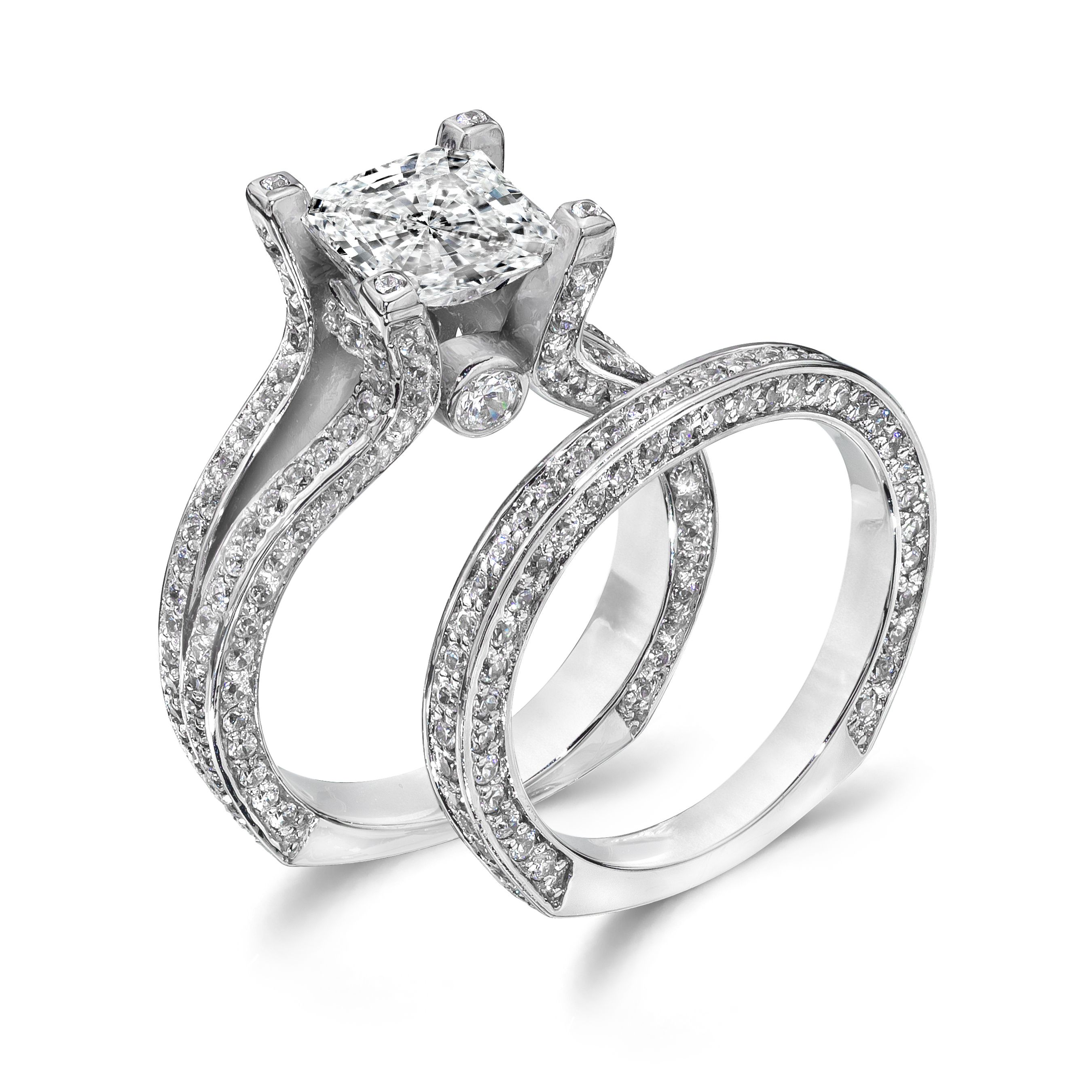 A Closer Look at Our Princess Cut 20 Carat CZ Wedding Ring Set