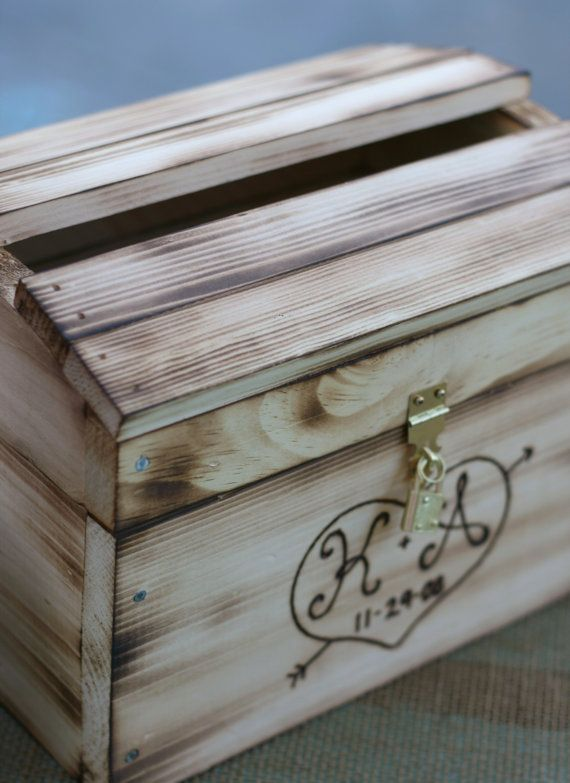 Wedding Card Box Ideas To Make Part - 34: Wedding Card Box Rustic Personalized Wood Item By Braggingbags,