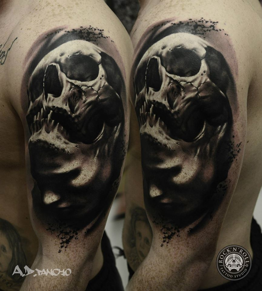 Gray Black And White Bedroom: Black And Grey Skull Tattoo By A.D. Pancho Rock ' Roll