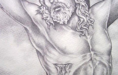 Tattoo art · pencil drawing of jesus on the cross