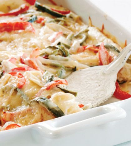 This enchilada-inspired casserole has a mild heat that's balanced by cooling yogurt.