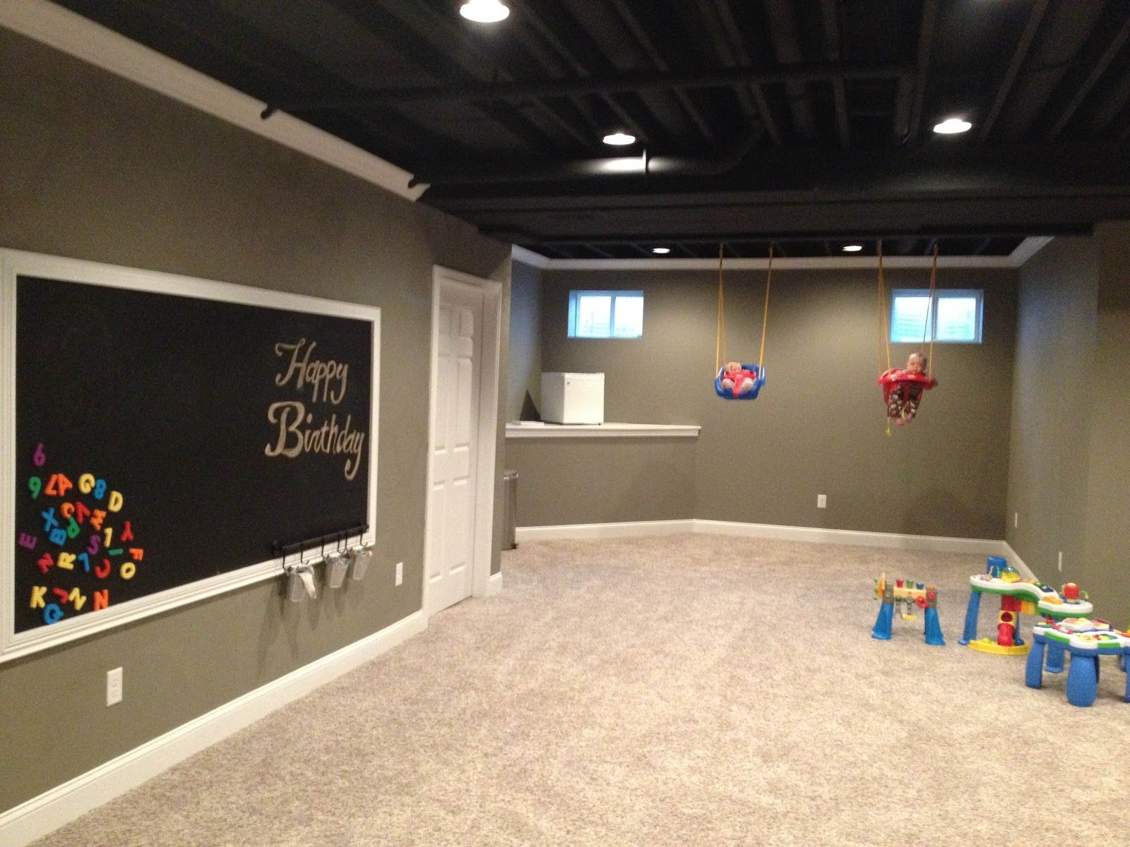 Basement Love The Color Of The Walls And The Trim Basement - Black ceiling basement