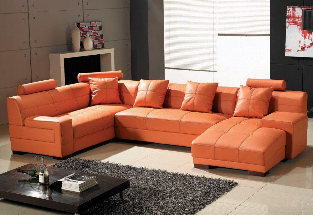 Orange Leather Sofas Bright Look With Warm And Comfortable Atmosphere Orange Leather Sofas Leather Couch Furniture Leather Sectional Sofas